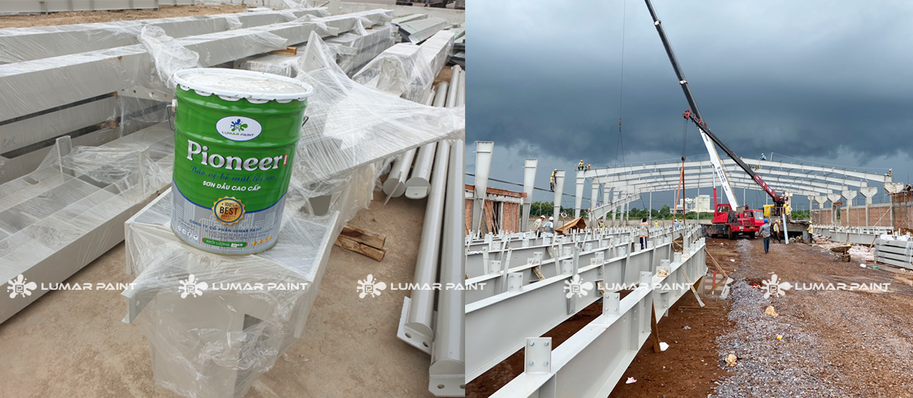 sơn dầu lumar paint cung cấp cho dự án nhà xưởng gỗ Mộc Chien